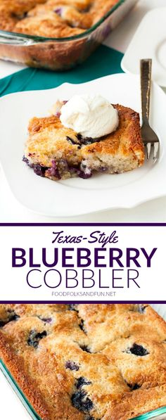 Texas-Style Blueberry Cobbler is just as much about the blueberries as it is about the cake! The cake bakes beautifully around the blueberries and it develops these crispy, buttery edges that you'll end up dreaming about! | Blueberry Recipe | Blueberry Dessert | Summer Recipe | Summer Dessert | Blueberry Cobbler Recipe: