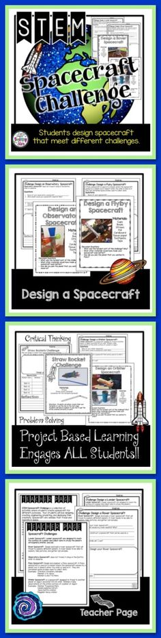 Space STEM Challenges is a collection of activities where students create spacecraft for different purposes. Your students will love designing, creating, engineering, predicting, and displaying their creations. Spacecraft are vehicles that travel and operate in space.