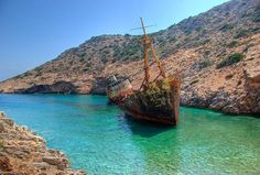 Shipwreck of the Olympia, near the town of Katapola, on Amorgos island (Αμοργός), Cyclades island group, Greece Abandoned Ships, Abandoned Places, Le Grand Bleu, Underwater Caves, Unexplained Mysteries, World Images, Shipwreck, Tall Ships, Greece Travel