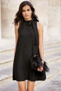 The LBD is definitely out to play this winter and the diamanté's on our bow dress bring it bang up to date for winter.