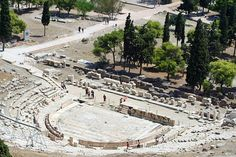 The Theatre of Dionysus was built in the fifth century named after god Dionysus which was the god of wine.  This theatre is located on the southwestern slope of Acropolis. Here is a present day picture of the remains, and show how the Greek strong architecture survived thousands of years.