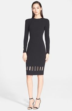 Versace Collection Eyelet Hem Detail Long Sleeve Dress available at #Nordstrom