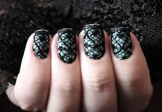 blue nails w/ black lace
