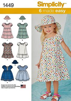 Baby and Toddler Peasant Dress Pattern, Simplicity Pattern 1449, Easy Pullover Dress Pattern