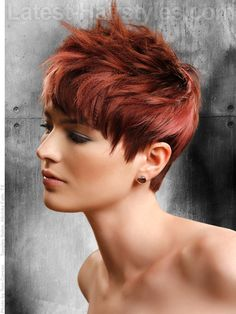 Red short hair with layers and textures...love the color, again maybe shorter, maybe with some gold highlights?