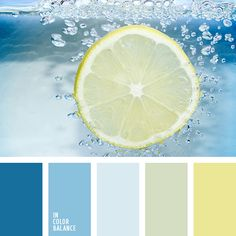 Bathroom colors - a fresh palette of muted dark blue hues. Pale blue coloured tile combined with bright yellow accents, embodied in texti. Colour Pallette, Colour Schemes, Color Combos, Color Palette Blue, Yellow Accents, Bright Yellow, Blue Yellow, Dark Blue, Yellow Shades