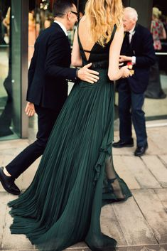 Adore these green pleats...out for a glamorous night at the CFDA Awards..