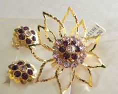 Vintage 50s Brooch and Earrings set Dead Stock the tags -on sale