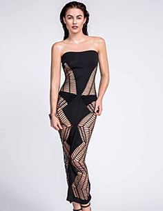 Women's+Summer+High+Rise+Club+Sexy+Solid+Color+Stretchy+Thin+Strapless+Maxi+Sleeveless+Hollow+Shift+Dress+–+USD+$+12.99