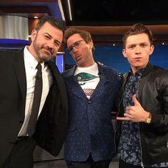 —  Tom, Robert Downey Jr, and Jimmy Kimmel behind the scenes of Jimmy Kimmel live, airing tonight on ABC at 8PM ET!  —