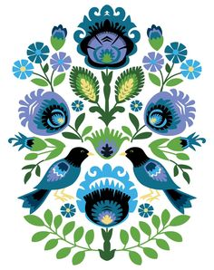 Polish Folk Art Print This is an image created in Adobe Illustrator and inspired by the beautiful paper cut art of Poland. The image is printed on museum quality fine art paper. PRINT SIZES: 5 x 8 x 11 x 12 x 16 Frame and mat are not included. Polish Embroidery, Bird Embroidery, Embroidery Ideas, Folk Art Flowers, Flower Art, Mundo Hippie, Polish Folk Art, Kunst Tattoos, Arte Country