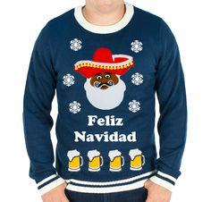 Festified - Men's Feliz Navidad and Beer Ugly Christmas Sweater (Navy), #UglyChristmassweater #festified