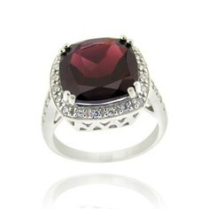 Glitzy Rocks Sterling Silver Square-cut 10.4 CTW Garnet and Cubic Zirconia Ring
