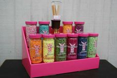 Pink Zebra products on our Pink Salmon Stack Display! Color coded to match perfectly!  Makes setting up your display at vendor events or home parties a breeze! www.StackDisplays.com #pinkzebra