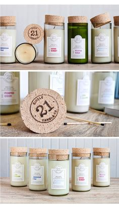 Circle 21 soy candles from re-purposed wine bottles with cork top (really cute gift) Wine Bottle Candles, Tea Candles, Wine Bottle Crafts, Candle Wax, Scented Candles, Wine Bottles, Soy Candle, Yankee Candles, Candle Molds