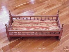 Antique Baby Rocking Cradle-spindle And Bentwood-origin