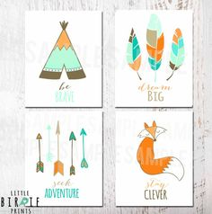 TRIBAL NURSERY WALL Art Set Printable Tee-pee Fox Arrows Feather Art Kids Room Printable Wall Art Fox Be Brave Dream Big Stay Clever