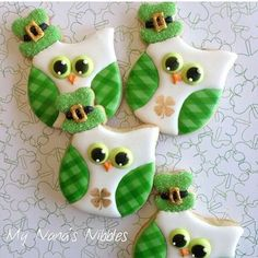 St. Patrick's Day owl cookies