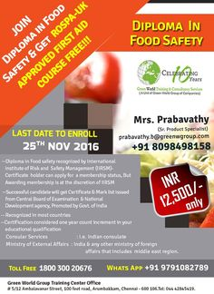 Join national safety diploma in food safety & get Rospa  approved  first aid course.  http://greenwgroup.co.in/safety-diploma-courses/