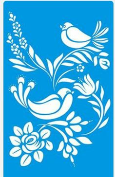 birds & flowers on blue background