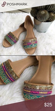 Embellished Sandals Embellished slip-on flats, never worn. Size 8. Shoes