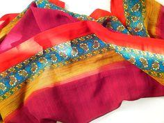 extra long soft silk scarf silk sari scarf tribal scarf in maroon and blue