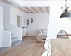 ~Mykonos Villa~ Beautiful white and neutrals  #neutralpalette #concrete #wood #white #Greece #textures #mykonos #villazeta