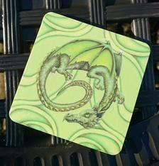 Green Dragon Fantasy Art Coaster | Etsy Dragon Illustration, Green Dragon, Drink Coasters, Blank Cards, Pyrography, Original Artwork, Fantasy Art, Badge, Greeting Cards
