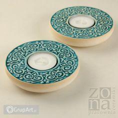 Grupart.pl - 2 lampiony ornamentowe turkusowe - Wnętrze - Ceramika artystyczna #ceramika