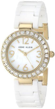 "Anne Klein Women's AK/1660GPWT ""Amazon-Exclusive"" Gold-Tone Swarovski Crystal Accented Watch with White Ceramic Bracelet -- $93.75"