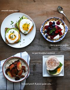 easy healthy breakfast ideas // 5 minutes via Say Yes to Hoboken Easy Healthy Breakfast, Eat Breakfast, Healthy Breakfasts, Healthy Snacks, Breakfast Recipes, Y Recipe, Healthy Dessert Recipes, Smoothie Recipes, Food Swap