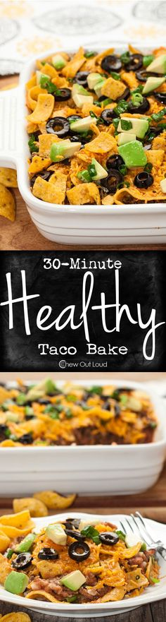 30-Minute Healthy Taco Casserole is super fast, all-natural, and tastes incredible. The perfect weeknight dinner for picky eaters.