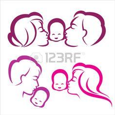 счастливая семья силуэт, векторные символы коллекция Фото со стока