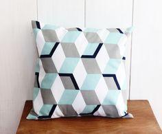 Housse de coussin 40 x 40 cm motifs géométriques bleus déco vintage : Textiles et tapis par zig-et-zag