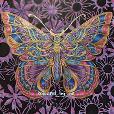 Finally finished the butterfly Magical Jungle [No.2] Johanna Basford ✏️Caran…
