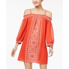 Trixxi Juniors' Off-The-Shoulder Shift Dress ($49) ❤ liked on Polyvore featuring dresses, light pastel orange, orange dress, orange shift dress, boho style dresses, pastel dress and orange off the shoulder dress