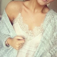 Thick knits and silk & lace Primark Cardi H & M lace Cami