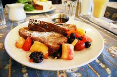 The best French toast in Toronto satisfies the sweet tooth of anyone who's ever wanted dessert for breakfast. Best French Toast, Recipe Of The Day, Pot Roast, Toronto, Sweet Tooth, Steak, Beef, Good Things, Meals