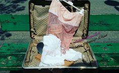 Completo top rosa antico e pantaloncini in pizzo retrò stile
