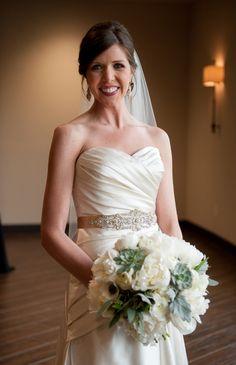MEG Wedding Jewelry Real Bride Michelle wearing swarovski bridal
