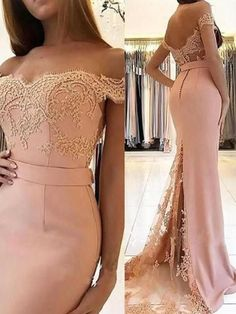 Elegant Prom Dress, Sheath/Column Sleeveless Off-the-Shoulder Sweep/Brush Train Applique Spandex Dresses Tubo Sem mangas Sweep / Brush trem Applique Vestidos de spandex Mermaid Prom Dresses Lace, Mermaid Evening Gown, Evening Gowns, Lace Mermaid, Evening Party, Dress Prom, Prom Gowns, Pink Mermaid Dress, Blush Prom Dress
