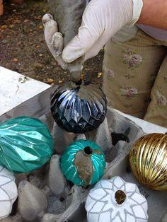 concrete christmas orbs Mrs. Pedersen's garden