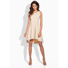 Fancy Beige Dipped Hem Coctail Dress LAVELIQ