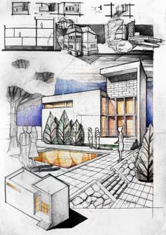 Contemporary House. Two contrasting volumes: a heavy white box and a white shell, both connected by two levels of windows. Every time you're presenting a design use the axo and perspective to show both faces of your volume - so you got your building covered from all angles. Pencil + Colored Crayons on 50x70 Standard Paper, 7 Hours Completion Time #architecture #architect #rendering