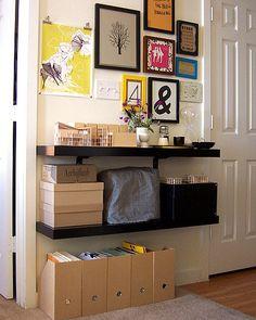 Two simple shelves make a landing strip for her foyer.
