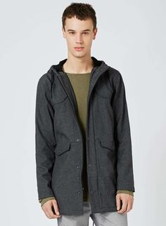 ASOS Men s Parka Jacket With Faux Shearling Hood In Black Size L