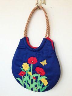 Vintage Purse Char's Folly Original Handbag 1970's Floral Design Rope Handle