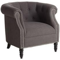 angelo:HOME Chesterfield Smoky Charcoal Gray Tufted Armchair