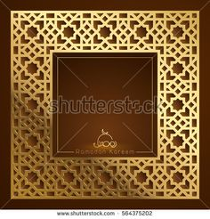 Islamic vector design Ramadan Kareem greeting background template with arabic geometric pattern border