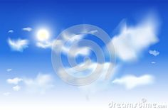 White clouds and sun in a blue sky. Vector sky background EPS10. Blue top to fully white bottom.